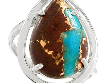 Authentic Ribbon Turquoise in Solid Sterling Silver Ring. Size 6.5. 3197