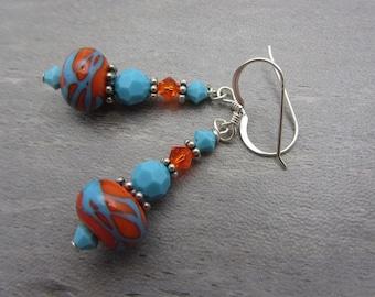 Lampwork Earrings Orange and Blue Earrings Glass Bead Earrings Dangle Drop Earrings Southwestern Look SRAJD USA Handmade