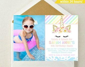 Unicorn Pool Party Invitation // Unicorn Invitation // Rainbow Unicorn Invite // Unicorn Birthday Invite // Unicorn Pool Invitation