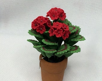 Dollhouse Miniature Red Geranium Plant