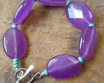Purple Jade and Turquoise Bracelet with Sterling Silver Toggle Clasp