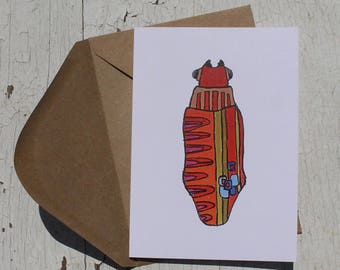 Bug No. 7 Greeting Card, Just Because, Thinking of You, Note Card, Blank Card with Envelope