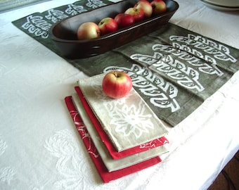 red and gray napkin set