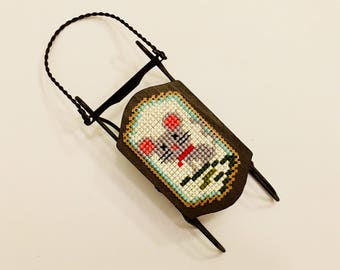 Christmas mini sled, Christmas tree decoration, Christmas ornament, cross stitch ornament, completed finished cross stitch, mouse