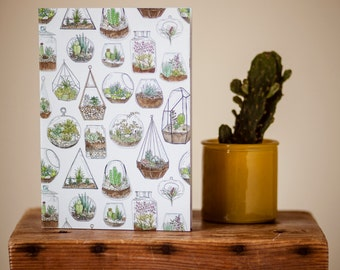 A5 Terrarium Notebook // Garden Lover // Gardener Gift // Sketchbook // Recycled Paper // Plain, Lined, Dotted, Squared Paper