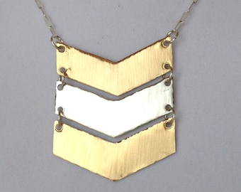 Hand made Triple Chevron Necklace