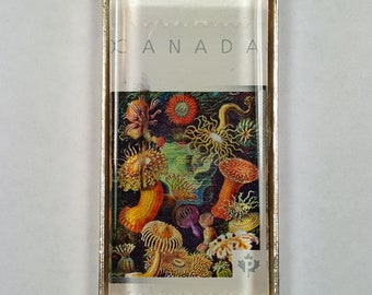 Coral Sea Life Canada Oceans Fan Coral Reefs Sea anemone Postage Stamp Pendant or Key Ring