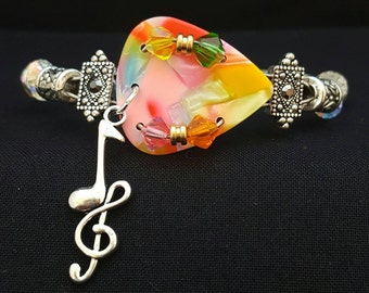 "Guitar pick and guitar string bracelet ""Candy"""