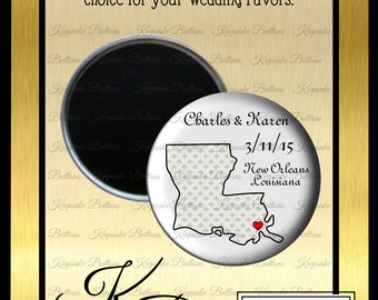 "Your State Wedding Favor Magnets, 2.25"" Custom Wedding Magnet, State Wedding Favors, Wedding Souvenir, Wedding Keepsake, Refrigerator Magnet"