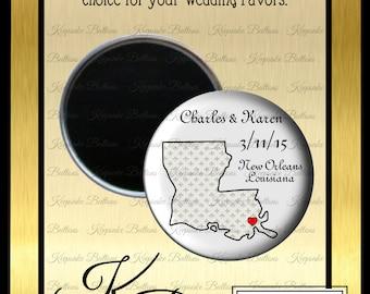 """Your State Wedding Magnet Favors, 2.25"""" Custom Wedding Magnet, State Wedding Favors, Wedding Souvenir, Wedding Keepsake, Refrigerator Magnet"""