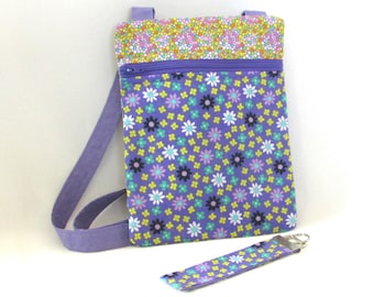 Purple Crossbody Bag, Floral Handmade Purse, Key Fob, Purple, Flowers, Travel Purse, Hipster Purse, Zipper Purse, Shoulder Bag