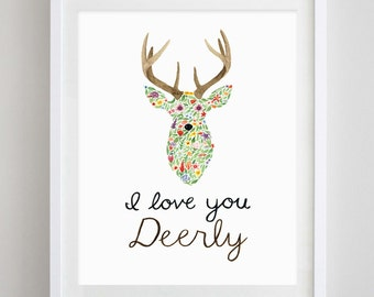 I Love You Deerly Floral Watercolor Art Print