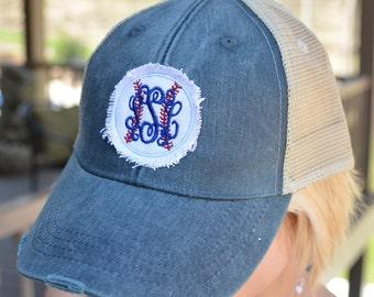 New! Baseball Trucker Hat, Baseball Caps, Monogram Trucker Hat, Trucker Hat, Trucker Cap, Distressed Baseball Cap, Monogram Hat