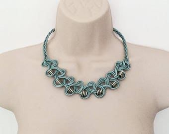 Knotted Leather Necklace with Silver Coloured Tibetan Style Beads - Metallic Blue Leather
