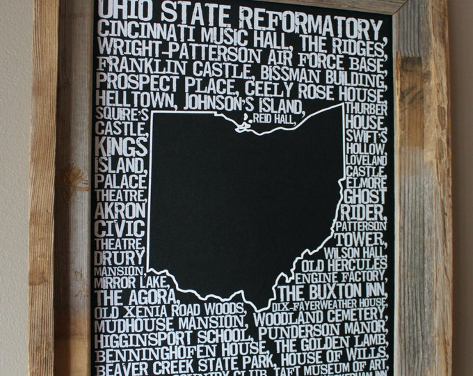 Haunted Ohio Word Map (Black) - Unframed