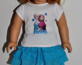 Frozen-skirt and top outfit  that fits AMERICAN GIRL DOLLS