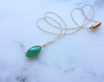 Green Onyx Marquise Necklace