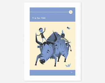 Y is for YAK (Giclée Fine Art Print/Photo Print/Poster Print) by Jazzberry Blue