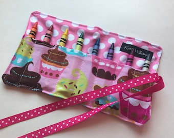 Cupcake Crayon Roll Party Favor-8 Crayola Crayons Included-Great Stocking Stuffer or Christmas Gift or Party Favor
