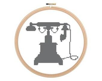 Old Telephone - Cross stitch pattern PDF, Phone Cross Stitch, Vintage Cross Stitch, Telephone Pattern, Retro telephone, Old Phone Pattern