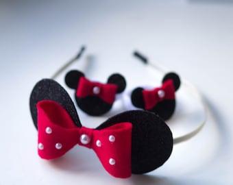HOOP Minnie Mouse /Gift hoop/ Hair hoop / Hair ties/ Bow in the hoop/ Hair ornament baby Bright hair hoop / Big hair bows girl/ set of 3