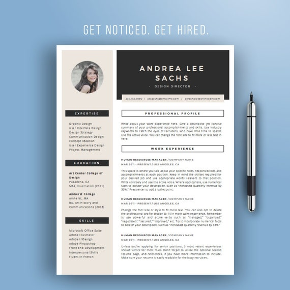 Sale Resume Template Instant Download Creative Cv Template