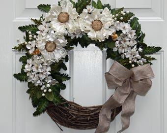 White Satin Floral Grapevine Wreath with White Berries and Tiny Birds. Wedding or Anniversary Wreath. Front Door Wreath. Spring Wreath.