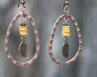 Yellow Boho Earrings Bohemian Earrings Copper Earrings Jewelry Dangle Drop Earrings Hoop Earrings Gift for women Gift for her