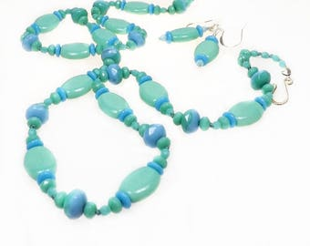 Aqua and Blue Knotted Glass Bead Necklace Set, Boho Knotted Necklace, 1930s Streamline Style Necklace, Jewelry Gift Set for Her