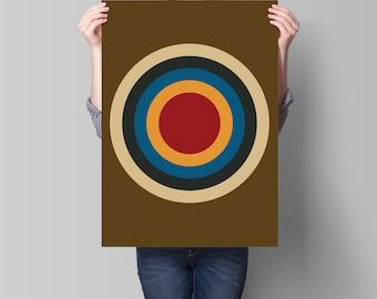 Mod Target Retro Vintage Inspired Op Art Print 60s 70s style