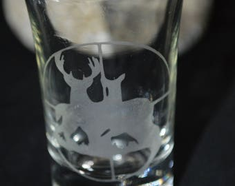 Hunting Shot glass Etched Set of 4