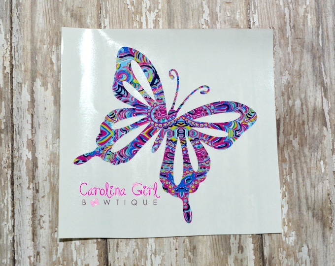 Lilly Pulitzer Inspired Butterfly Decal ~ Yeti Decal ~ Lilly Car Decal ~ Lilly Decal ~ Lilly Sticker
