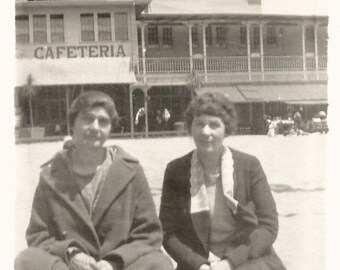 "Vintage Snapshot ""Neptune Beach"" Cafeteria Women Sitting On The Beach Florida Old Photo Found Vernacular Photo"