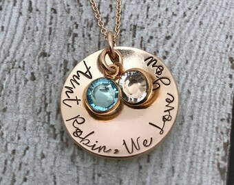 Aunt Necklace, Aunt Jewelry, Gift for Aunt, Birthstone Necklace for Aunt, Aunt Gift, Birthstone Jewelry, Special Aunt, Jewelry for Aunt