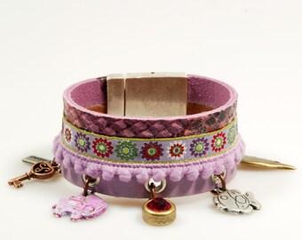 Leather cuff purple snake print - bracelet with charms: elephant, fish, wing, key, Swarovski - gypsy - lilac, fuchsia - SALE jewelry