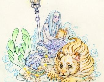 """Mermay#4 """"The Surface"""" - Original Merlion and Mermaid Drawing on Moleskine ORIGINAL OOAK Art"""