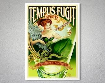 Tempus Fugit Spirits, Premium Absinthes Vintage Food & Drink Poster - Poster Print, Sticker or Canvas Print / Gift Idea