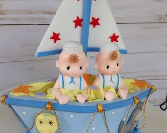 Twin baby shower. Boy twins baby shower. Baby shower cake topper. Boy  baby shower cake topper.Nautical baby shower. TWin cake decoration.