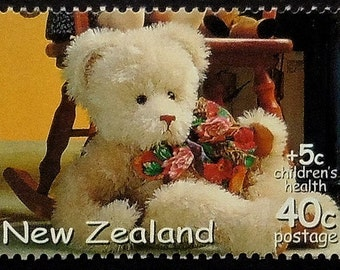 Toys and teddy bear, New Zealand -Handmade Framed Postage Stamp Art 19772