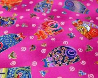 Laurel Burch Rare Oop FABULOUS FELINES Tossed Cats on Fuchsia Fabric - BTHY