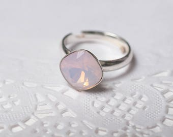 adjustable Ring with Swarovski Cushion Square Rose Water Opal valentine's gift jewelry