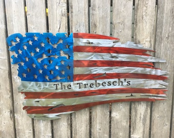 Custom Name Steel American Flag with translucent paint