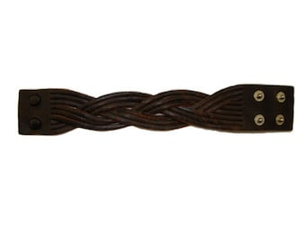 Handmade Vintage Brown Leather Braided Bracelet Cuff Wrist Band