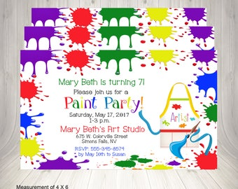 Birthday Party Invitation, Paint Party Invitation, Painting Birthday Party, Painting Party Birthday Invitation, Birthday Painting Party