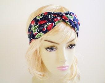 Retro Cherry Headband, Navy Cherry Headband, Cherry Turban Headband, Cherry Twist Headband, Retro Headband, Red Cherries Headband