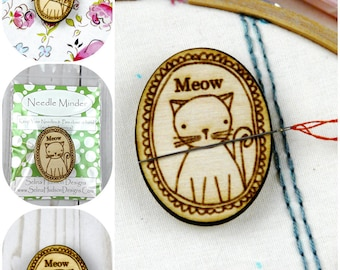 Kitty Cat Needle Minder magnet - Cute, Happy, Adorable wood supply supplies sewing Cross Stitch Wood Magnetic Hand embroidery pin Keeper