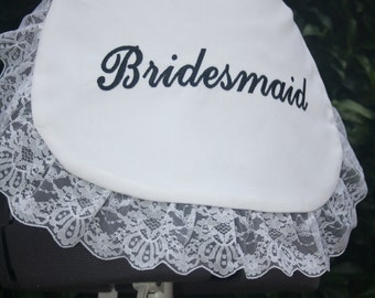 Made-to-order Bridal Shower / Kitchen Tea party mini Half Apron with Bride, Maid of Honour, Bridesmaid or Flower Girl embroidery