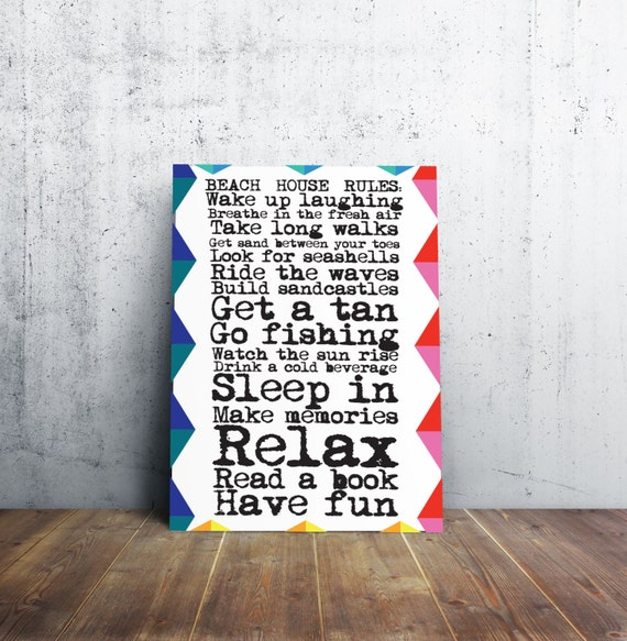 Beach House Rules - Colorful Poster - Sign!