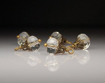 Vintage Style Bead Dangles Clear Glass C235