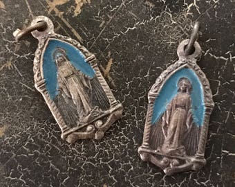 Vintage Virgin Mary Jesus Gorgeous Miraculous Italian Blue Enamel Medal - Petite, Highly Detailed and Ultra Rare - Mother Mary - Jesus - Sac